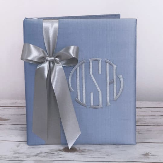 Shown in Baby Blue Silk with Gray Bow in the Seal Monogram in Gray thread.