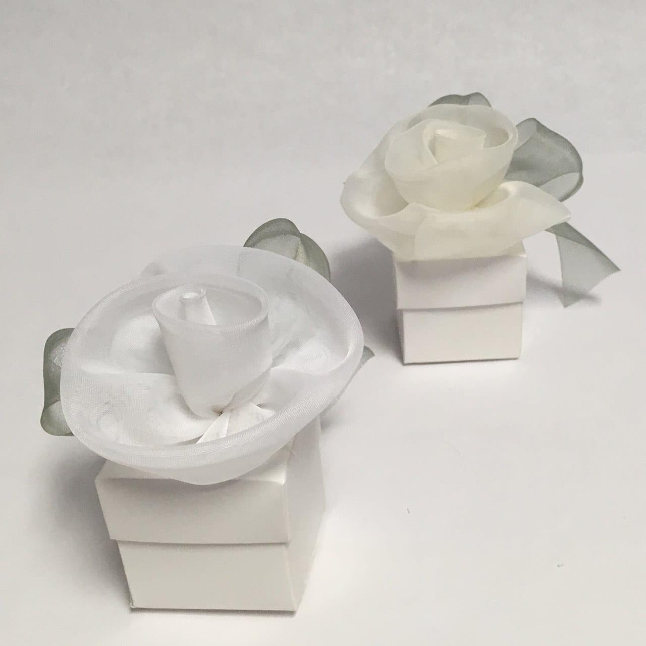 Square Favor Box with Chiffon Rose - Marcela Gifts
