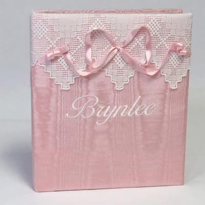 Shown in Pink Moiré with the Ballantines Font in White thread